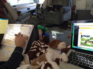 Our cozy planning session. Again, Theo is so willing to help.