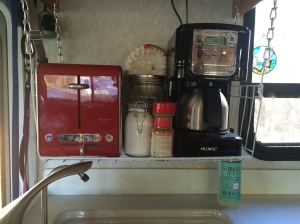 Our original coffee maker broke so we created our own breakfast station that includes a cute little coffee maker and now a toaster too!
